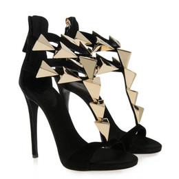 Wholesale Nude Heels Gladiator - Black nude Metallic Winged Gladiator Women Sandals High Heels Brand Sandals Summer Shoes Woman Ladies Shoes Pumps