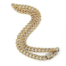 """Wholesale Usa Diamond - 18K Gold Plated Necklace Collares 20"""" 24"""" 30"""" Filled Factory Directly Selling Usa Hot Mens Hip Hop Jewelry Miami Cuban Link Chain Necklace"""