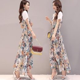 Wholesale crow harness - Summer 2018, the new women's clothing han edition printed posed long skirt restoring ancient ways is a two-piece dress harness chiffon dress