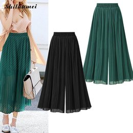 Wholesale palazzo chiffon - 2017 summer women trousers palazzo wide leg high waist trousers causal loose pants pantacourt femme ete Chiffon harem pants