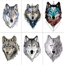 Deutschland TCOOL Wolf Temporäre Tattoo Aufkleber Wasserdicht Frauen Gefälschte Hand Tier Tattoos Erwachsene Männer Körperkunst 9,8X6 cm A-085 cheap tattoos for men hands Versorgung