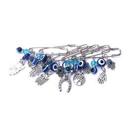 Wholesale Eye Pins For Jewelry - 1pc fashion 7 style turkey evil eye hamsa hand owl charms pendant brooch &pin jewelry accessories for Women Buckle Clips