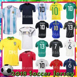 Wholesale Manning S - Custom Argentina Germany 10 NEYMAR JR 10 Messi Ronaldo Portugal 9 Pogba France 13 MULLER 10 OZIL home Soccer Jerseys 2018 world cup football