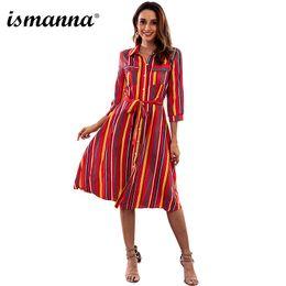 2019 cinturones midi Nuevo vestido de mujer de rayas otoño Turn-down cuello una línea de manga larga botón bolsillo dama vestidos vestido de fiesta Midi vestido con cinturón cinturones midi baratos
