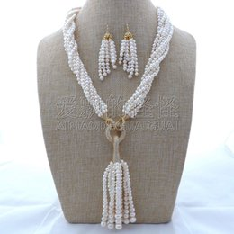 "white pearl turquoise necklace UK - S112102 7Strands 22"" White Pearl Necklace CZ Pendant Earrings Sets"