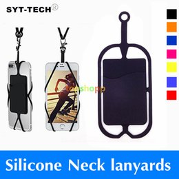 Wholesale Neck Strap Lanyard For Iphone - Credit ID Card Bag Holder Silicone Lanyards Neck Strap Necklace Sling Card Holder Strap For iPhone X 8 Universal Mobile Cell Phone DHL