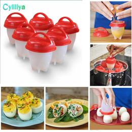 Gerichte machen online-Antihaft-Silikon-Eierkocher Hartgekochte Eier Ohne die Schale Eier kochen Kochen Werkzeuge 6 teile / satz Machen Köstliche Eierspeisen