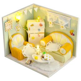 jouet de maison de poupée Promotion DIY Maison De Poupée Miniature Jouets Avec Meubles 3D Avec Poussière À La Main À La Main Dollhouse Bâtiment Modèle Jouets Orange Soda TW16 #E