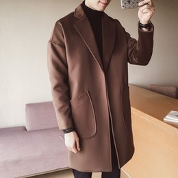 KEGZEIR Koreanischen Stil Wintermantel Männer Casual Warme Dicke Wollmantel Männer Mode Dünne Lange Mens Woolen Jacke Manteau Homme
