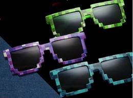 2019 gafas de moda para adultos Gafas de sol de mosaico Cuadrados vintage Novedad Pixel Gafas de sol Niños y adultos Gafas de moda 4 colores gafas de moda para adultos baratos