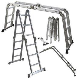 Wholesale fold step - 12.5FT EN131 330LB Multi Purpose Step Platform Aluminum Folding Scaffold Ladder