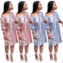 Vestidos de mangas tradicionales online-Vestidos africanos tradicionales Vestido de manga corta con lentejuelas rayas arco iris Glam Rainbow para fiesta