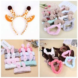 Wholesale plush horns - Multi Styles Elastic Flannel Rabbit Deer Sheep Horn Stereo Headbands Plush Washing Face Hair Stick For Women Children Pets Cosplay NNA360