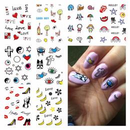 Wholesale Floral Nail Art Designs - WUF 1 Sheet Optional Beauty Nails Harajuku Designs Nail Art Water Decals Floral Transfer Stickers For DIY Nails Art