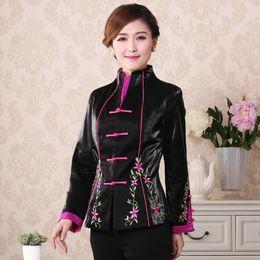 Chaquetas bordadas de seda online-Shanghai Story new arriva Satin Seda Flor bordada de las mujeres chinas Tang traje top estilo chino chaqueta cheongsam para la primavera