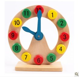 Wholesale toy clocks - Early Education Toys Kid Cognition Number Hollow Wooden Beneficial Wisdom Initiation Children Alarm Clock Modle Hot Sale 10 5mz V