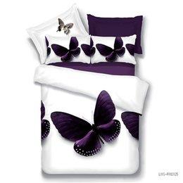 Juego de sábanas con estampado de mariposa online-Inicio Ropa de cama Set 4pcs Barato 3D Impresión Funda nórdica Sábana Fundas de almohada Rose Lion Wolf Butterfly Queen para Adultos SMN28