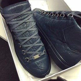 Wholesale Casual French Style - Excellent quality Men's Fashion arena High-top Bovine skin wrinkle crack Leather Lace Up zapatos hombre French Style Sneakers Casual Shoes
