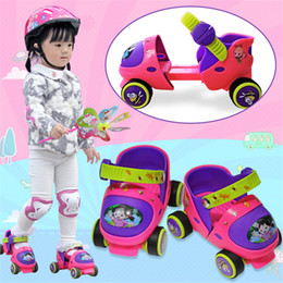 Wholesale Skate Shoes Wheels - EUR size 20-30 Adjustable Children Roller Skates 2 Colors Double Row 4 Wheels Skating Shoes Kids Two Line Toy Patines Gifts Car