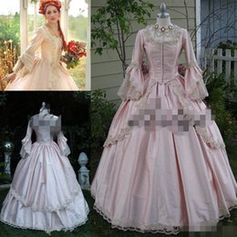 Wholesale Lolita Prom Dresses - Pink Gothic Ball Gown Vintage 1920s Style Scoop Full length Long Sleeve Prom Dresses Custom Make Victorian Gothic lolita Dress brodade
