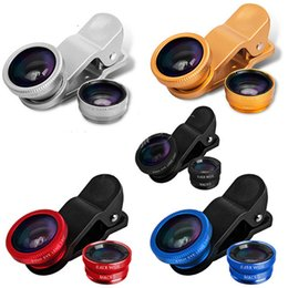 Wholesale Glass Eye Camera - 3 in 1 Universal Clip Fish Eye Wide Angle Macro Phone Fisheye glass camera Lens For iPhone Samsung with ratail package