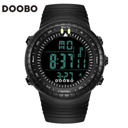 mens black large watch Coupons - Top Brand DOOBO Cool Black Mens Watch Fashion Large Face LED Digital Swimming Water Climbing Outdoor Man Sport Watches Boys Gift