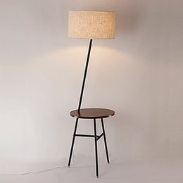 Wholesale Study Table Wood - Modern Wood Table Floor Lamp 5W Led Bulb Living Room Bedroom Study Standing Lamps Black Iron White Fabric Decor Home Lights 220V
