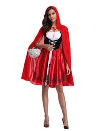 Nuevos modelos pequeños online-Nuevo Disfraz de Halloween Explosión Fantasma Femenino Caperucita Roja Capa Modelo Jugar Uniforme Adulto Cosplay de Halloween