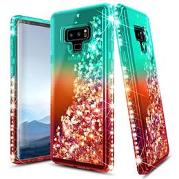 Caso de faísca para nota galaxy on-line-Para Samsung Nota 9 caso luxuoso Glitter Quicksand líquido faísca brilhante do diamante de Bling Casos de telefone para Samsung Galaxy Nota 10 Nota 10 Pro