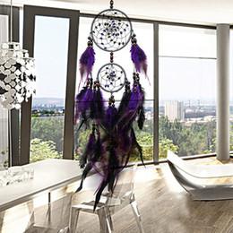 New Feather Crafts Purple Dream Catcher Campanelli a vento Handmade Dreamcatcher Net con perline di piume per appendere a parete Car Home Decor da collana tailandese fornitori