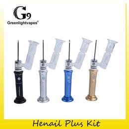 Démarreurs d'eau en Ligne-Authentic Greenlightvapes G9 Henail Plus Starter Kit Portable G9 Wax Dab Ceramic Nail Glass Bubble Water Vaporizer Vape Pen 100% Original