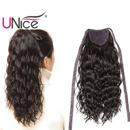 Wholesale 18 Blonde Ponytail - UNice Hair Brazilian Hair Ponytails 100% Human Hair Extensions Clip In Nice Curl Wet And Wavy Cheap Wholesale 14-22inch Lace Ribbon Ponytail