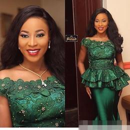 spitzen-nigerian-stil Rabatt Nigerian Style Lace 2019 Formale Abendkleider Party Wear 3D Flora Appliques Perlen Mermaid Special Occasion Prom Kleider billig Maßgeschneiderte