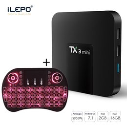 Combo-tv-box online-Zum Verkauf S905W TV-Box 4K Smart Android TV-Box Kostenlose Filme Streaming TX3 Mini 2 GB 16 GB Android TV-Boxen Wireless Keyboard Combo