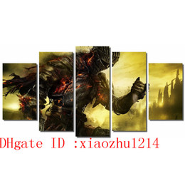 Wholesale Cartoon Painting Games - Dark Souls 3 Video Games ,5 Pieces Home Decor HD Printed Modern Art Painting on Canvas (Unframed Framed)