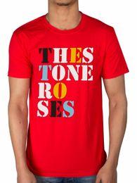 Rosas rojas perlas online-Leqemao Oficial The Stone Roses Logotipo de la fuente Camiseta One Love Red Pearl Bastard * Todos los tamaños Camisetas de moda Algodón recto