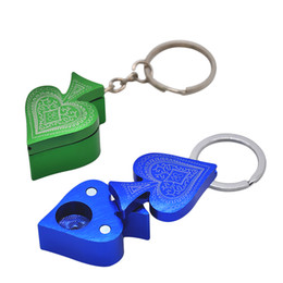 Wholesale Poker Styles - Portable Pocket Size New Style MINI Metal Poker Peach Heart Shape Pipe Key Chain Smoking Pipe Aluminum Alloy Pipe