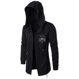 Черный трикотаж с капюшоном с капюшоном онлайн-The Witcher3 Men Hooded Sweatshirts With Black Gown Hip Hop Mantle Hoodies Fashion Jacket Long Sleeves Cloak Coats Outwear