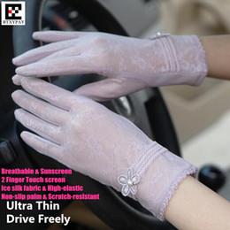Kadın Yaz Ultra Ince 2-Finger Dokunmatik Ekran Eldiven, Yüksek elastik Dantel Nakış Açık Güneş Anti-Uv Ride Runinng Eldiven nereden