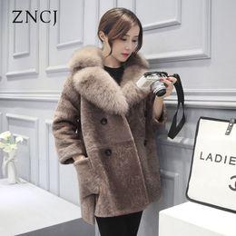 Wholesale korean winter coats for women - ZNCJ Winter Faux Fox Collar Coat Korean Faux Cashmere Coats Wholesale Camel Outwear Fashions Jacket for women