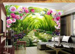 мебель из розового дерева Скидка Сад зеленый оттенок дорога цветок дверь 3D фон стены Пион цветок арка цвет цветы и растения зеленый бамбук Линь Лу Linyin дорога фрески