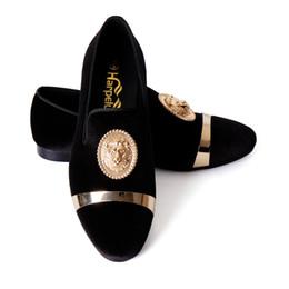 Boucle robe chaussures pour hommes en Ligne-Harpelunde hommes chaussures habillées noir velours mocassins animal boucle chaussures plates avec plaque d'or taille 6-14