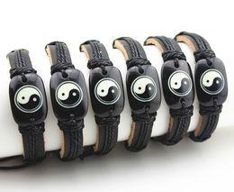 Canada Bijoux En Gros 12pcs Civilisation Orientale Tai Chi Chiao Yin Yang Bracelets En Cuir Surfer Bracelet Amulette Cadeau MB08 cheap eastern leather Offre