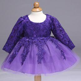 Filles robe spectacle fleur fille anniversaire robe enfants à manches longues en dentelle ajourée princesse robe ? partir de fabricateur