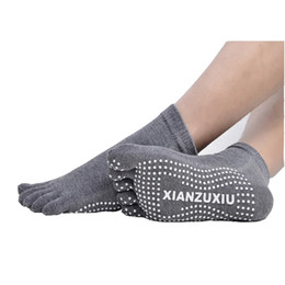 Discount silk care - 4 Pairs Lot Men's Massage Yoga Socks Cotton Socks Breathable Non-slip Health Care Five Finger Toe Deodorant
