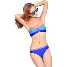 Argentina Sexy traje de baño azul rojo estampado lady beach mar Bikini traje de baño Prop de acero Traje de baño de dos piezas Correas Cinturones ajustables Elástico tamaño niñas encanto cheap sexy charm girl Suministro