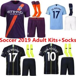 ea48d6840 18 19 Manchester City soccer Jerseys 2018 2019 MAN KUN AGUERO KOMPANY DE  BRUYNE STERLING SANE Maillots de football Adult Kits+Socks