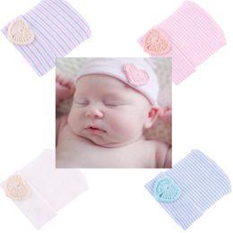Bebê Infantil Da Menina Da Criança Macio Confortável Bowknot Listrado Hospital Cap Quente Beanie Hat de