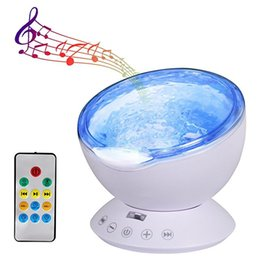 night lamps for kids Coupons - Ocean Wave Projector Lamp Night Light with Remote Control Music Player Romantic 7 Color Changing for Party Decorations Kids Bedroom