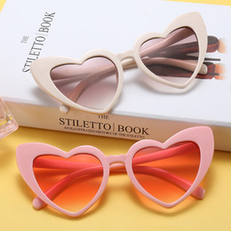 Wholesale Pink Heart Shaped Sunglasses - Peekaboo love heart fashion sunglasses women cat eye vintage Christmas gift black pink red heart shape sun glasses for women uv400